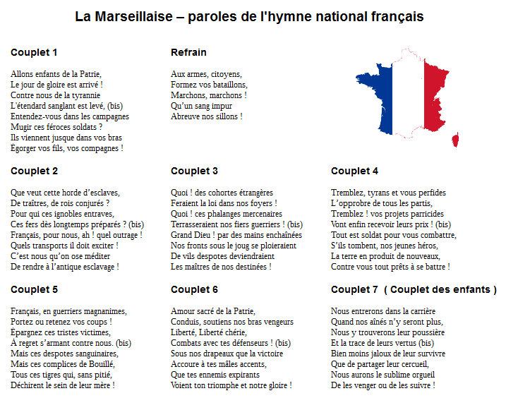 lyrics to the Marseillaise
