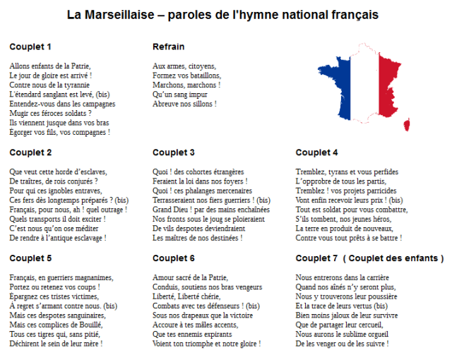 la marseillaise - les paroles de l'hymne de la France