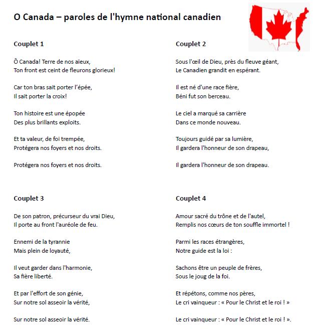 O Canada - paroles de l'hymne du Canada en français