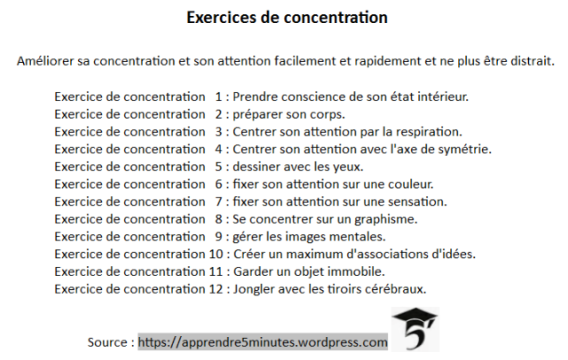 exercices de concentration
