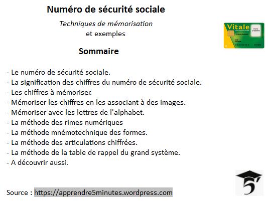 Numéro de sécurité sociale - techniques de mémorisation