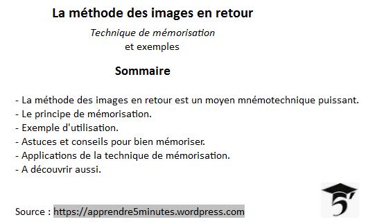 technique de mémorisation - les images en retour