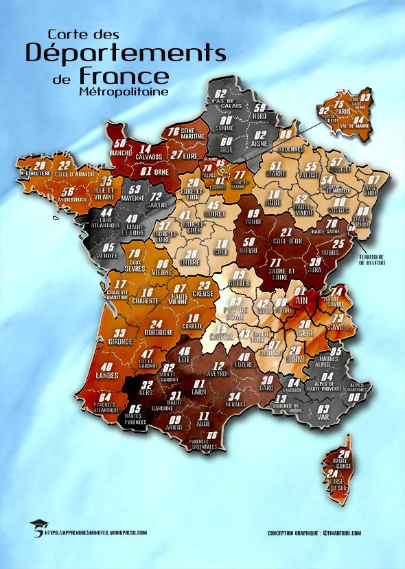 Carte des départements de France métropolitaine et leurs numéros