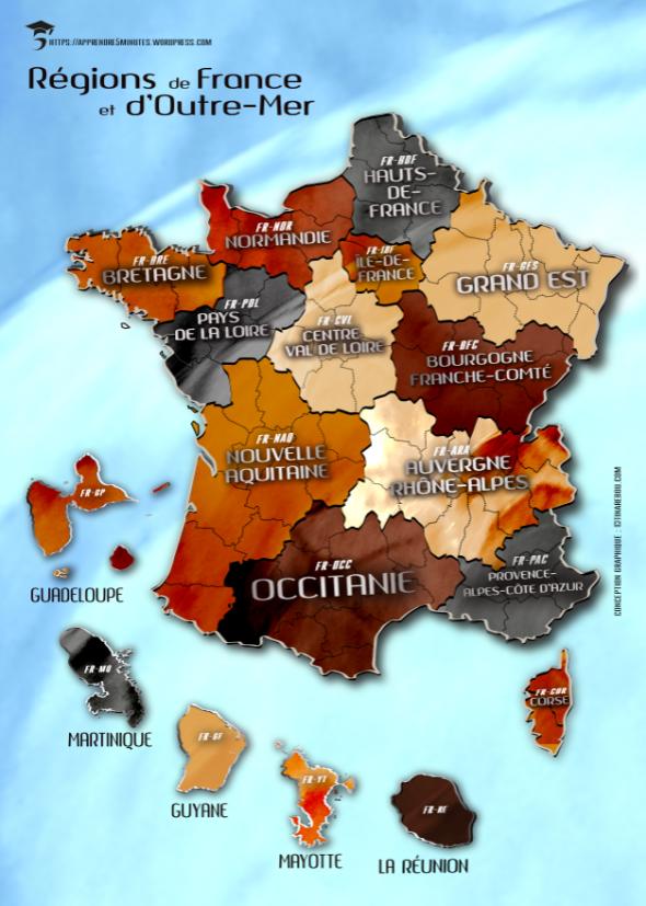 Carte des régions de France métropolitaine et d'Outre-Mer.