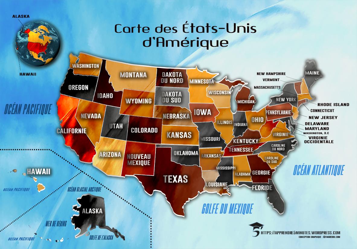 Carte Etats Unis Damerique.Comment Apprendre Les 50 Etats Des Etats Unis Rapidement Et