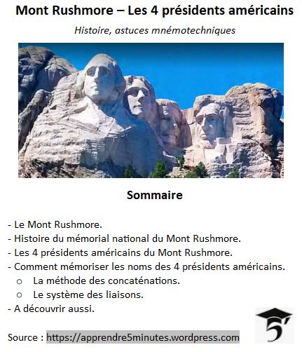 Comment mémoriser les présidents américains du mont Rushmore.