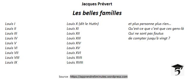 Les belles familles - poème de Jacques Prévert.
