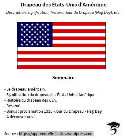Drapeau des États-Unis d'Amérique - sommaire.