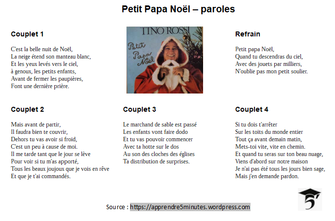 Petit Papa-Noël - paroles