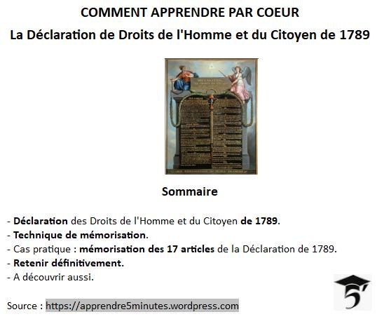 Comment apprendre par cœur la Déclaration des Droits de l'Homme et du Citoyen de 1789.