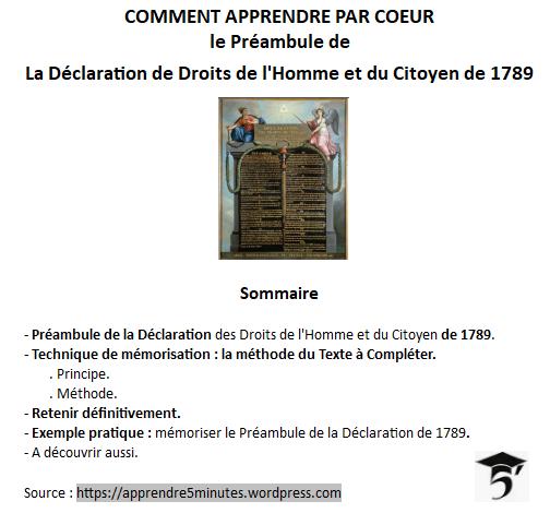 Comment apprendre par cœur le Préambule de la Déclaration des Droits de l'Homme et du Citoyen de 1789.