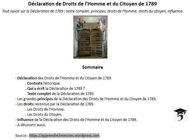 Déclaration des Droits de l'Homme et du Citoyen de 1789 - Sommaire.