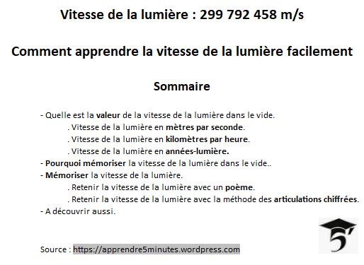Vitesse de la lumière : 299 792 458 m/s.