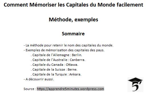 Comment Mémoriser les Capitales du Monde facilement.