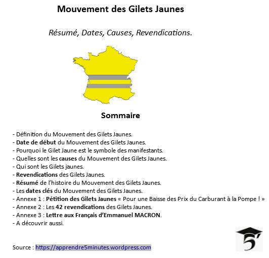 Mouvement des Gilets Jaunes : Résumé, Dates, Causes, Revendications.
