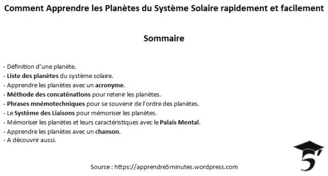 Comment Apprendre les Planètes du Système Solaire rapidement et facilement