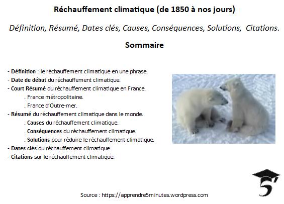 Réchauffement Climatique (de 1850 à nos jours) : Définition, Résumé, Dates clés, Causes, Conséquences, Solutions, Citations.