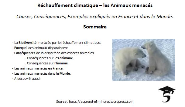 Réchauffement climatique - les Animaux menacés en France et dans le Monde.