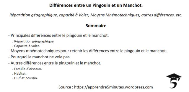 Différences entre un Pingouin et un Manchot.