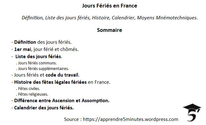 Jours Fériés en France.