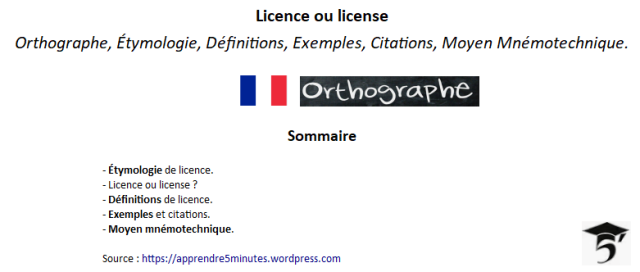 Licence ou license ?