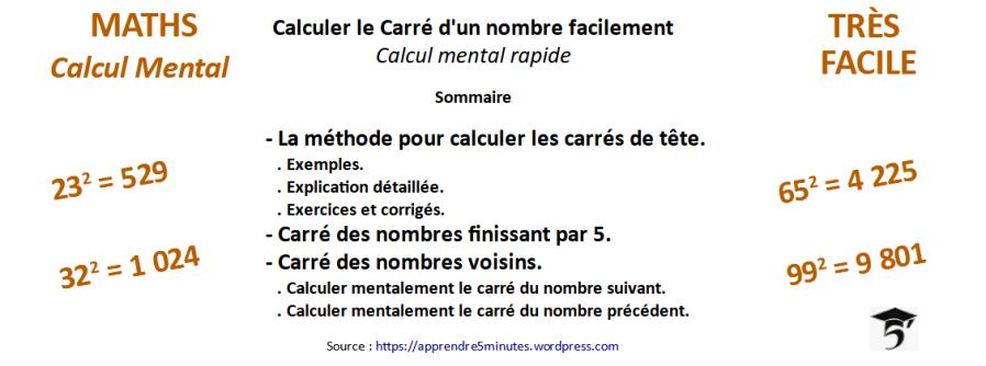 Calculer le Carré d'un nombre facilement - Calcul mental rapide.