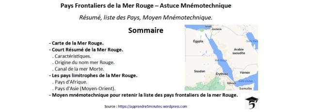 Pays Frontaliers de la Mer Rouge – Astuce Mnémotechnique.