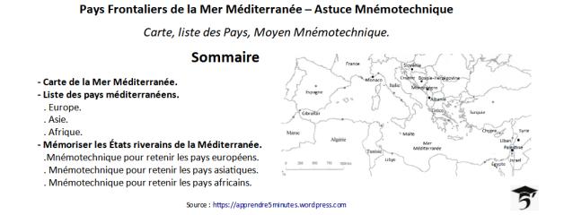 Pays Frontaliers de la Mer Méditerranée – Astuce Mnémotechnique.